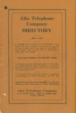 Alto City Directory, 1918