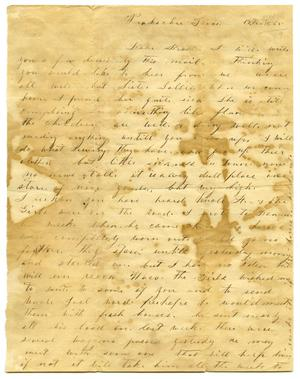 Primary view of object titled '[Letter to Milton Parks from sister Mollie, 1865]'.