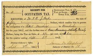 Primary view of object titled '[Receipt for Occupation Tax, September 9 1863]'.