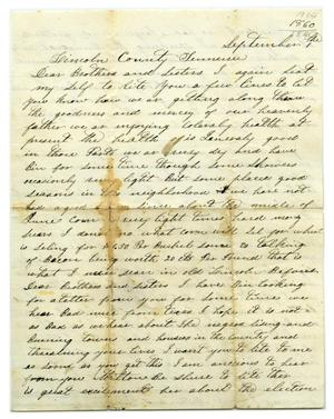 Primary view of object titled '[Letter to from J.W. Parks to Milton Parks, September 1 1860]'.
