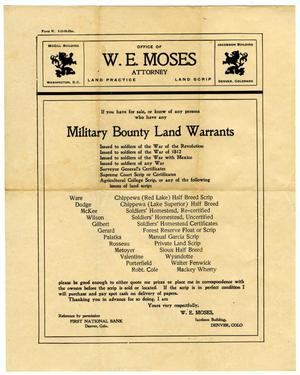 Primary view of object titled '[Military Bounty Land Warrants document from the Office of W.E. Moses]'.