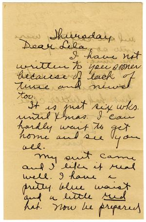 Primary view of object titled '[Letter from Jessie N. to Lela Smith, November 8 1913]'.
