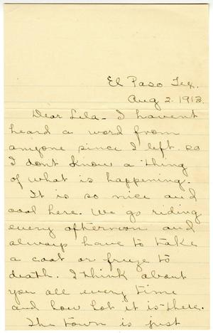 Primary view of object titled '[Letter from Jessie N. to Lela Smith, August 2 1913]'.