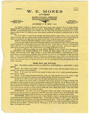 [Land regulation notice from the Office of Attorney W.E. Moss to Milton Parks]