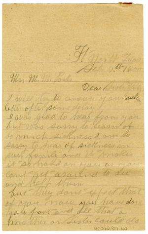 Primary view of object titled '[Letter from Mollie Thess to M.M. Parks, September 9 1900]'.