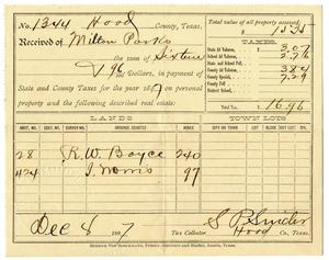 Primary view of object titled '[Hood County Tax Receipt for Milton Parks, December 8 1897]'.