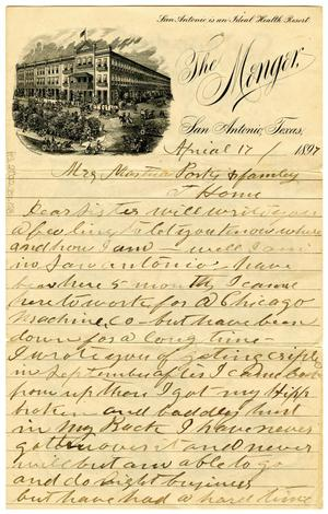 Primary view of object titled '[Letter from David T. Crockett to Martha Parks and Family, April 17 1897]'.