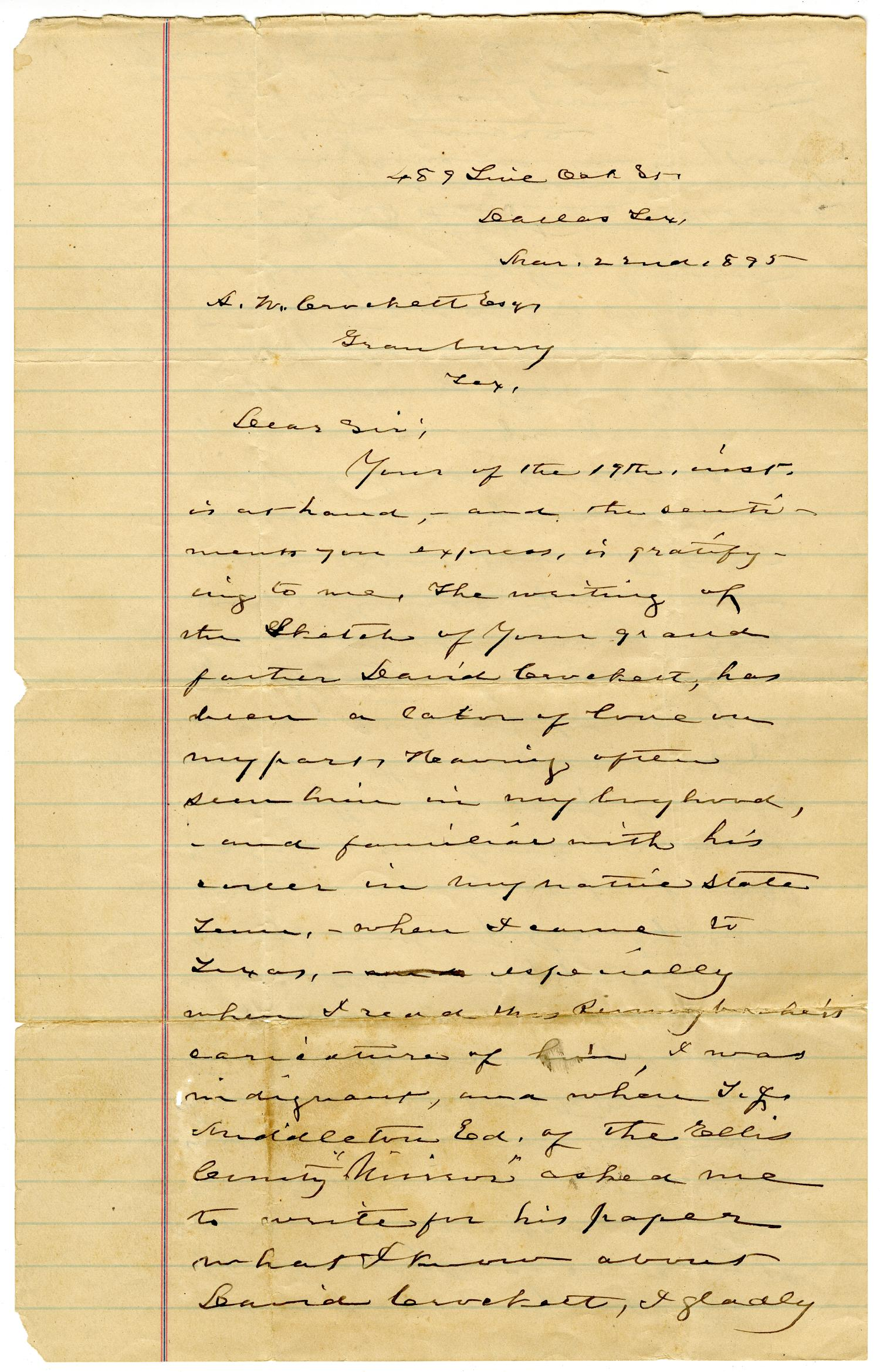 [Letter from S.H. Stout to A.W. Crockett]                                                                                                      [Sequence #]: 1 of 2