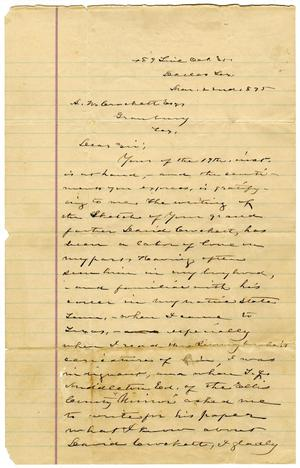 [Letter from S.H. Stout to A.W. Crockett]