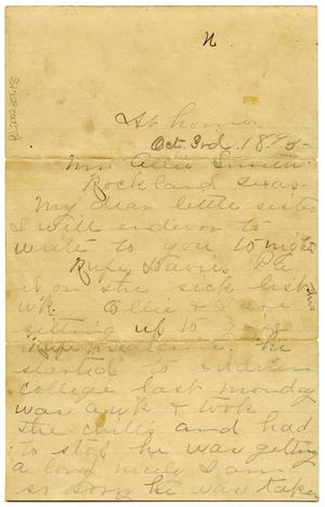 Primary view of object titled '[Letter to Allie Smith c. 1893]'.