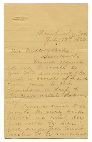 Primary view of object titled '[Letter from S.H. Stout to Milton Parks]'.