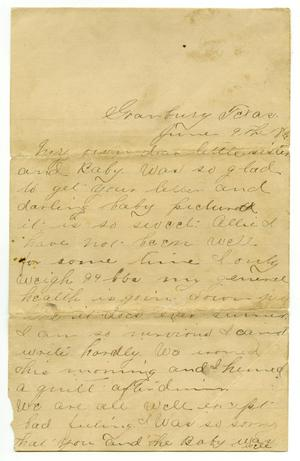 Primary view of object titled '[Letter from Sallie Parks to Allie Parks, June 9 1892]'.