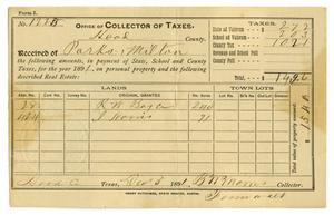 Primary view of object titled '[Hood County Tax Receipt for Milton Parks, December 3 1891]'.