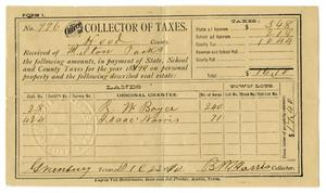 Primary view of object titled '[Hood County Tax Receipt for Milton Parks, December 23 1890]'.