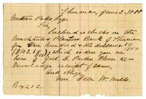 Primary view of object titled '[Letter from Mrs. Ella W. Mills to Milton Parks, June 2 1888]'.