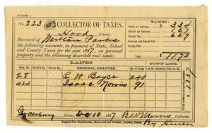 Primary view of object titled '[Hood County Tax Receipt for Milton Parks, December 10 1887]'.