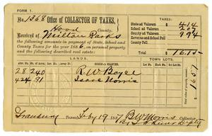 Primary view of object titled '[Hood County Tax Receipt for Milton Parks, February 19 1887]'.