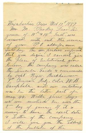 [Letter from Jas M. Cartney to M. Parks, February 17 1887]