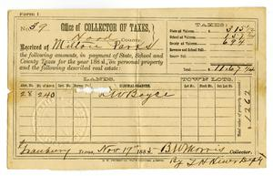 [Hood County Tax Receipt for Milton Parks, November 19 1885]