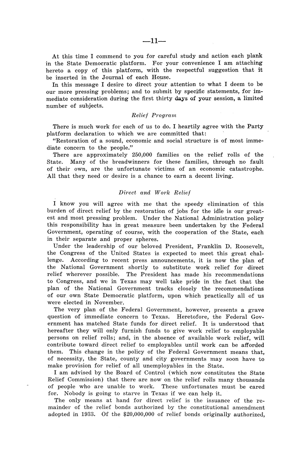 Legislative Messages of Hon. James V. Allred, Governor of Texas 1935-1939                                                                                                      [Sequence #]: 10 of 263