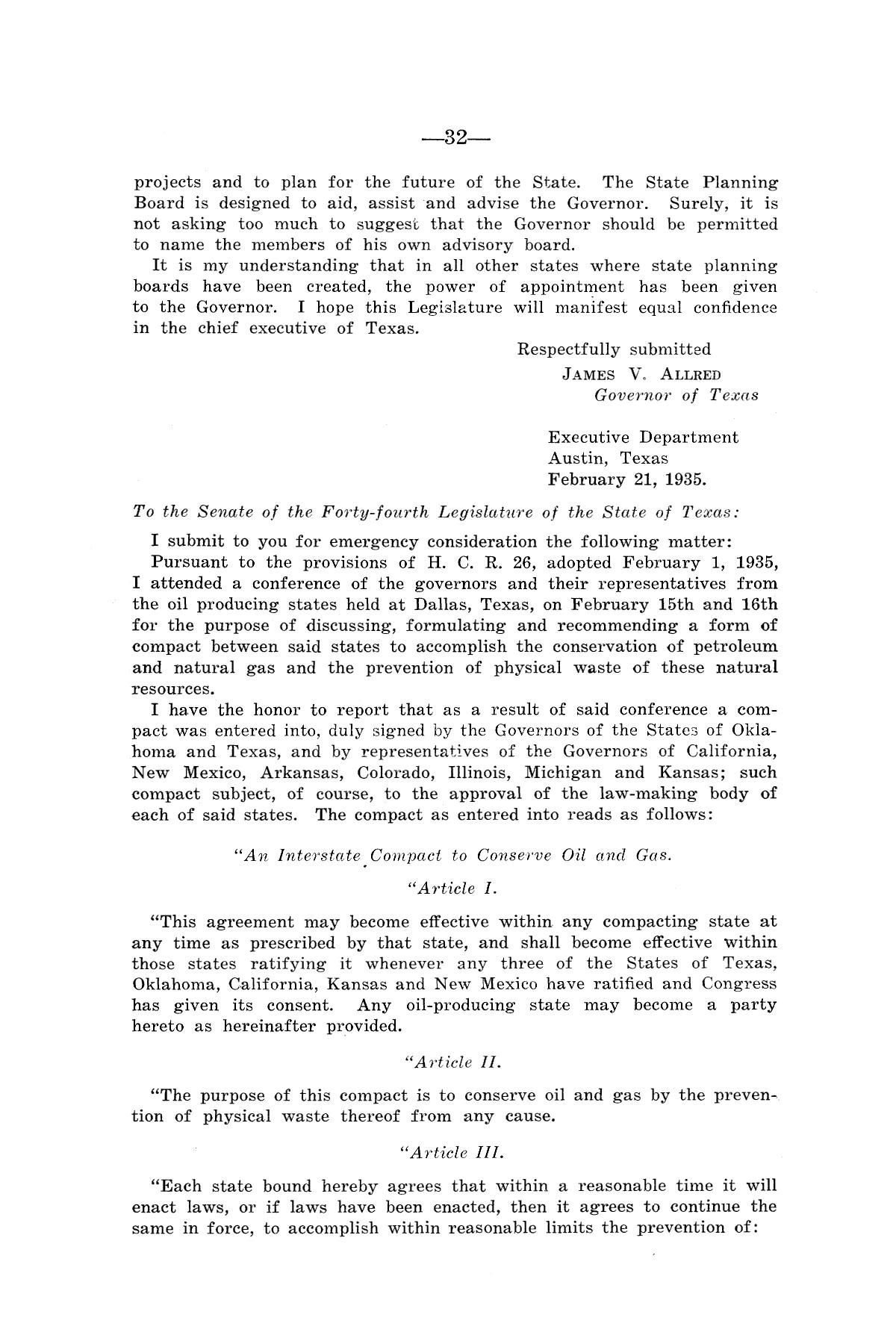 Legislative Messages of Hon. James V. Allred, Governor of Texas 1935-1939                                                                                                      [Sequence #]: 31 of 263