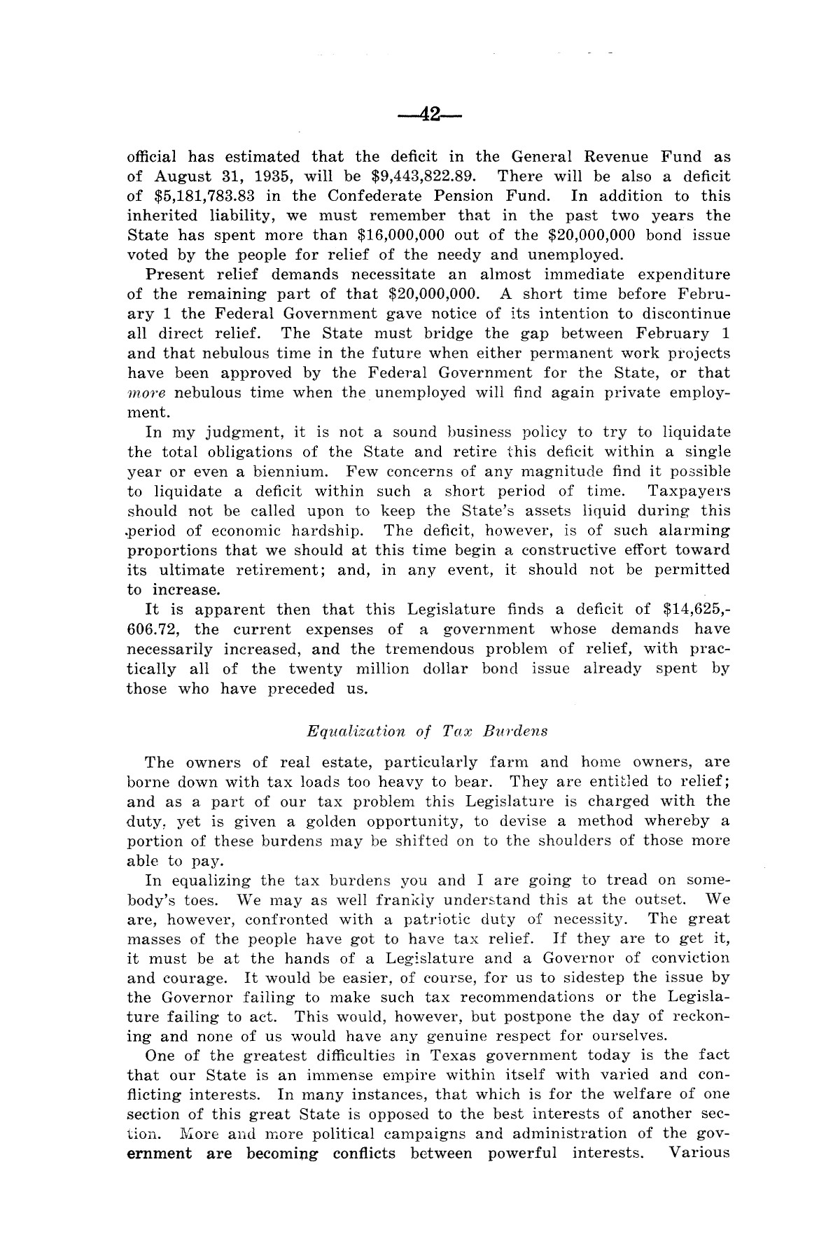 Legislative Messages of Hon. James V. Allred, Governor of Texas 1935-1939                                                                                                      [Sequence #]: 41 of 263