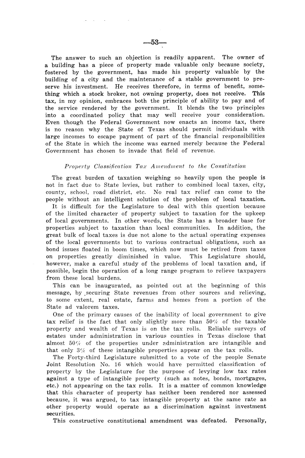 Legislative Messages of Hon. James V. Allred, Governor of Texas 1935-1939                                                                                                      [Sequence #]: 52 of 263