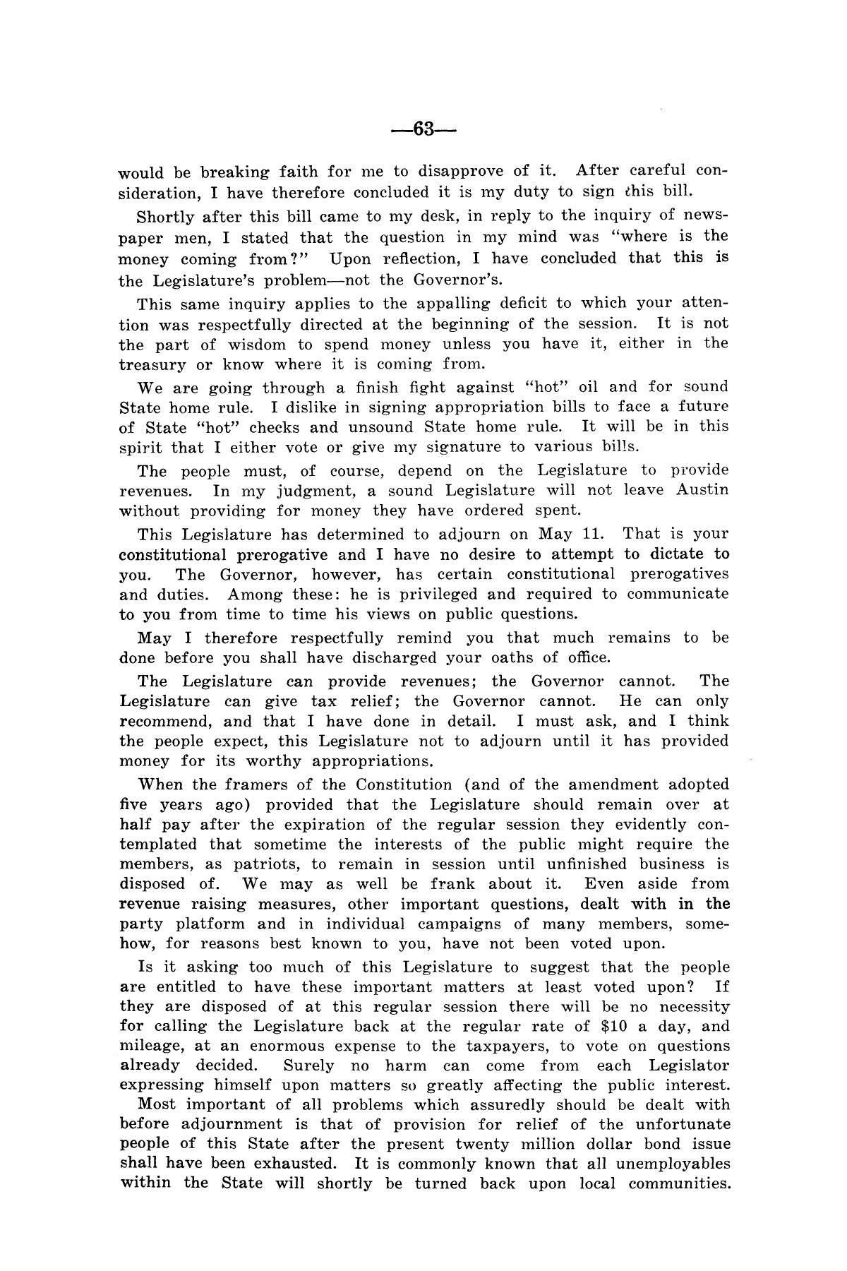 Legislative Messages of Hon. James V. Allred, Governor of Texas 1935-1939                                                                                                      [Sequence #]: 62 of 263
