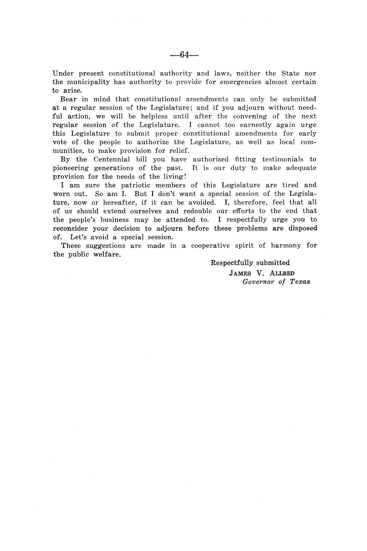 Legislative Messages of Hon. James V. Allred, Governor of Texas 1935-1939                                                                                                      [Sequence #]: 63 of 263