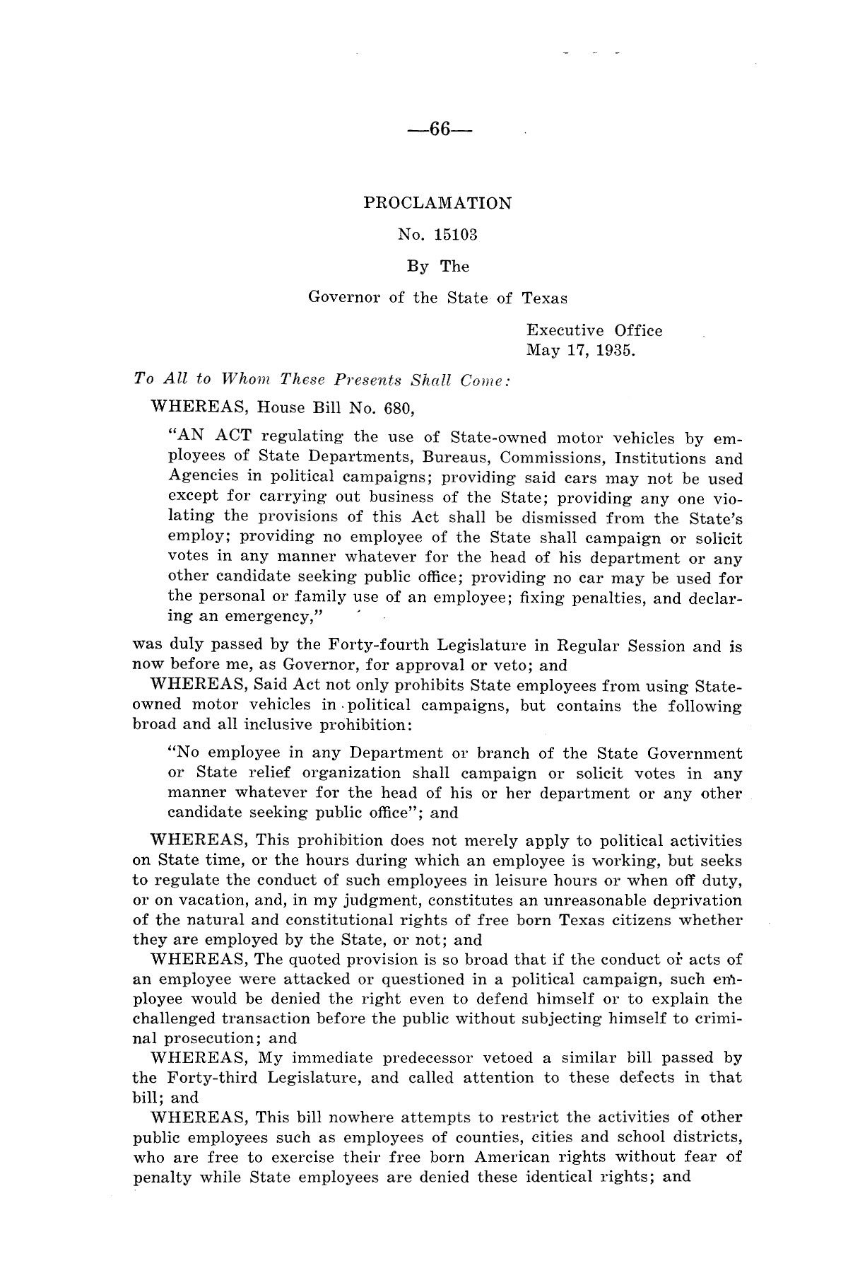 Legislative Messages of Hon. James V. Allred, Governor of Texas 1935-1939                                                                                                      [Sequence #]: 65 of 263