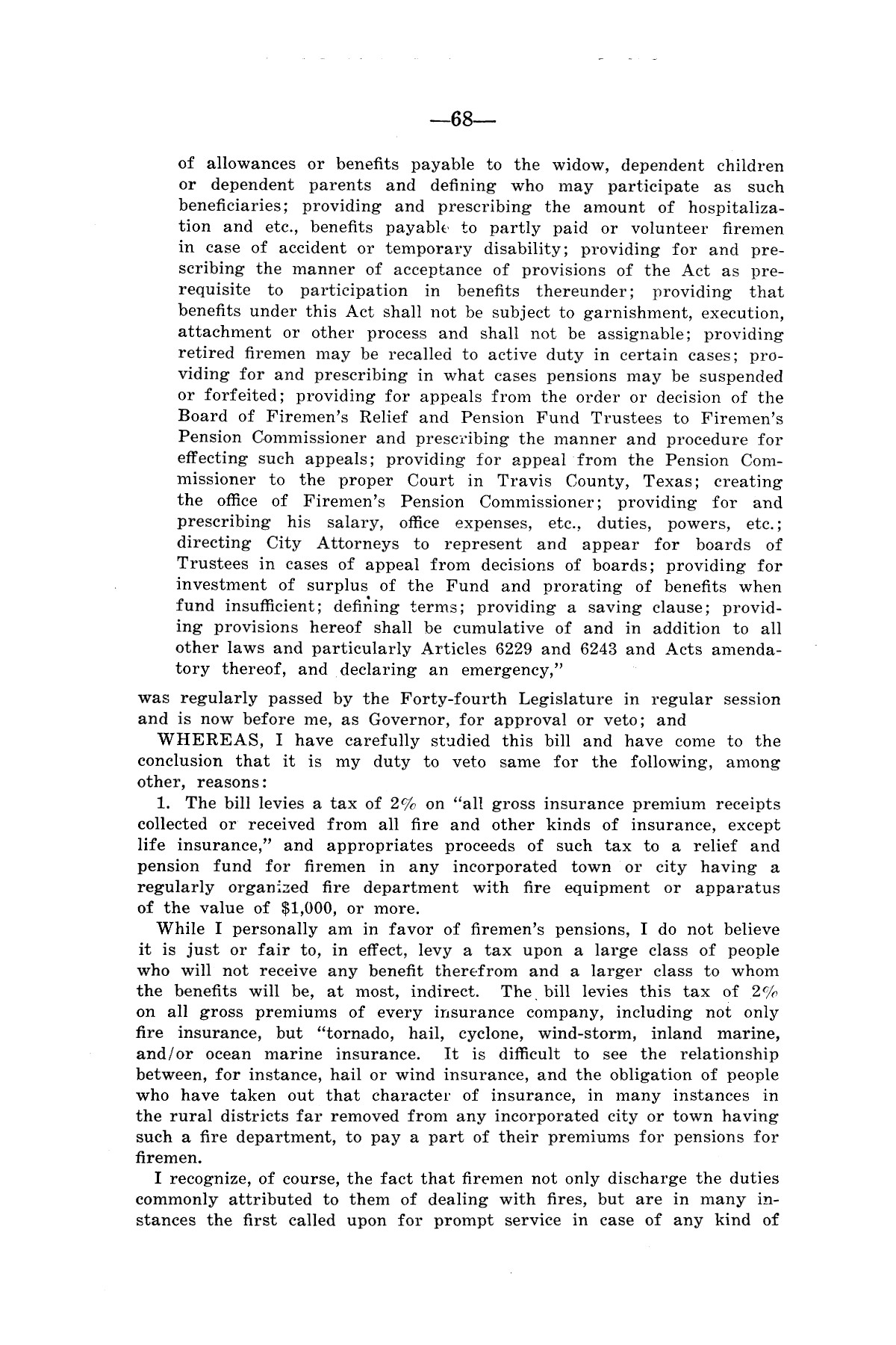 Legislative Messages of Hon. James V. Allred, Governor of Texas 1935-1939                                                                                                      [Sequence #]: 67 of 263