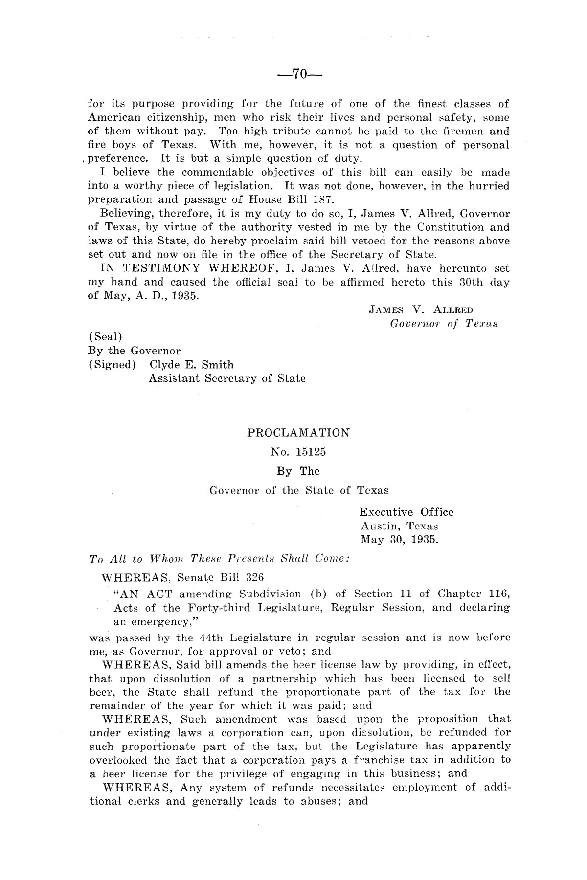 Legislative Messages of Hon. James V. Allred, Governor of Texas 1935-1939                                                                                                      [Sequence #]: 69 of 263