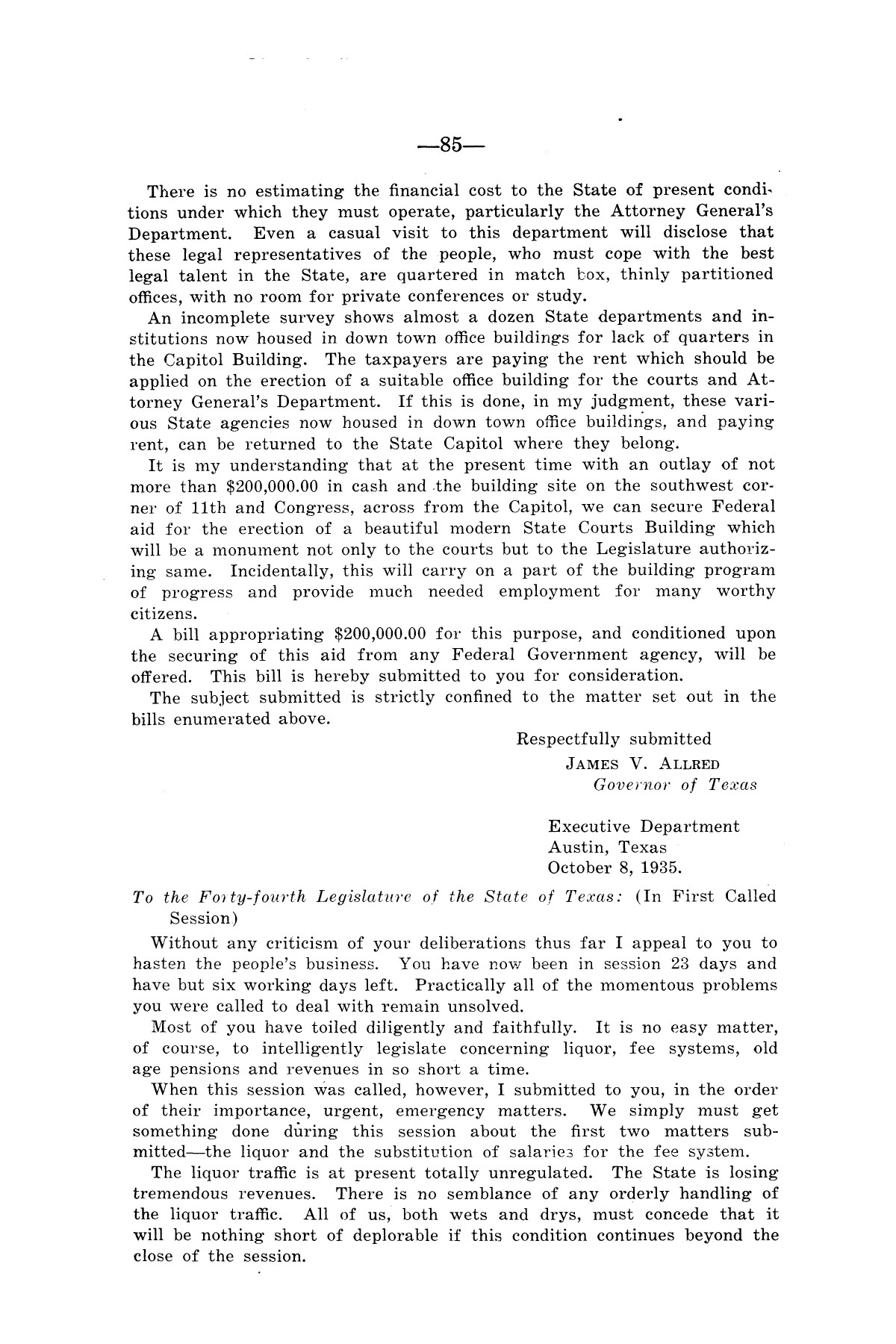 Legislative Messages of Hon. James V. Allred, Governor of Texas 1935-1939                                                                                                      [Sequence #]: 84 of 263