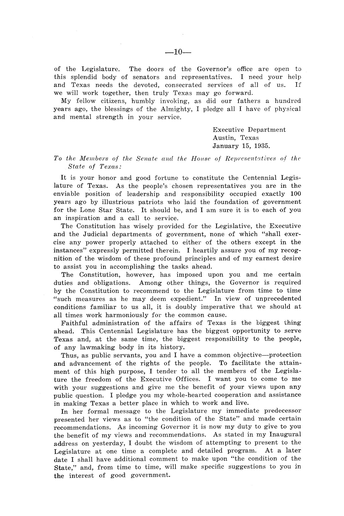 Legislative Messages of Hon. James V. Allred, Governor of Texas 1935-1939                                                                                                      [Sequence #]: 9 of 263