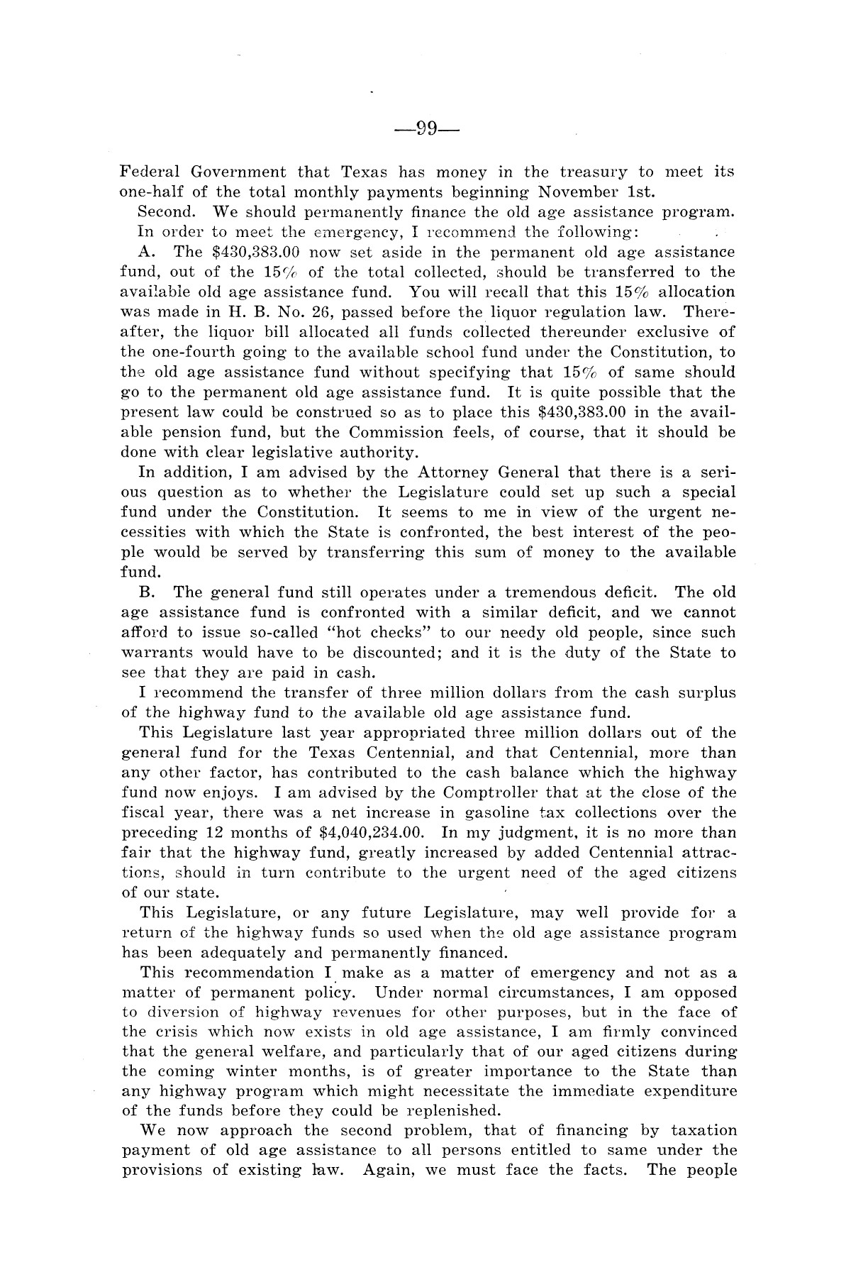 Legislative Messages of Hon. James V. Allred, Governor of Texas 1935-1939                                                                                                      [Sequence #]: 98 of 263