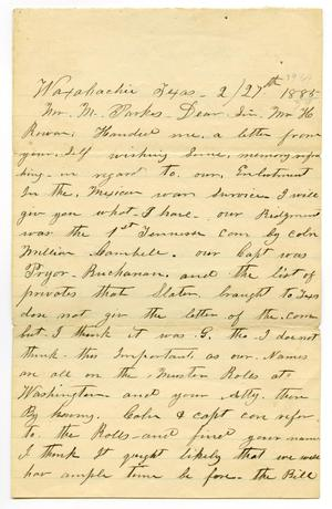 [Letter from Jas M. Cartney to M. Parks, February 27 1885]