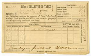 Primary view of object titled '[Hood County Tax Receipt for Milton Parks]'.