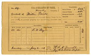 Primary view of object titled '[Tax receipt for Milton Parks for the year 1882, July 6 1883]'.