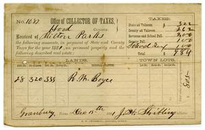 Primary view of object titled '[Tax receipt for Milton Parks, December 15 1881]'.