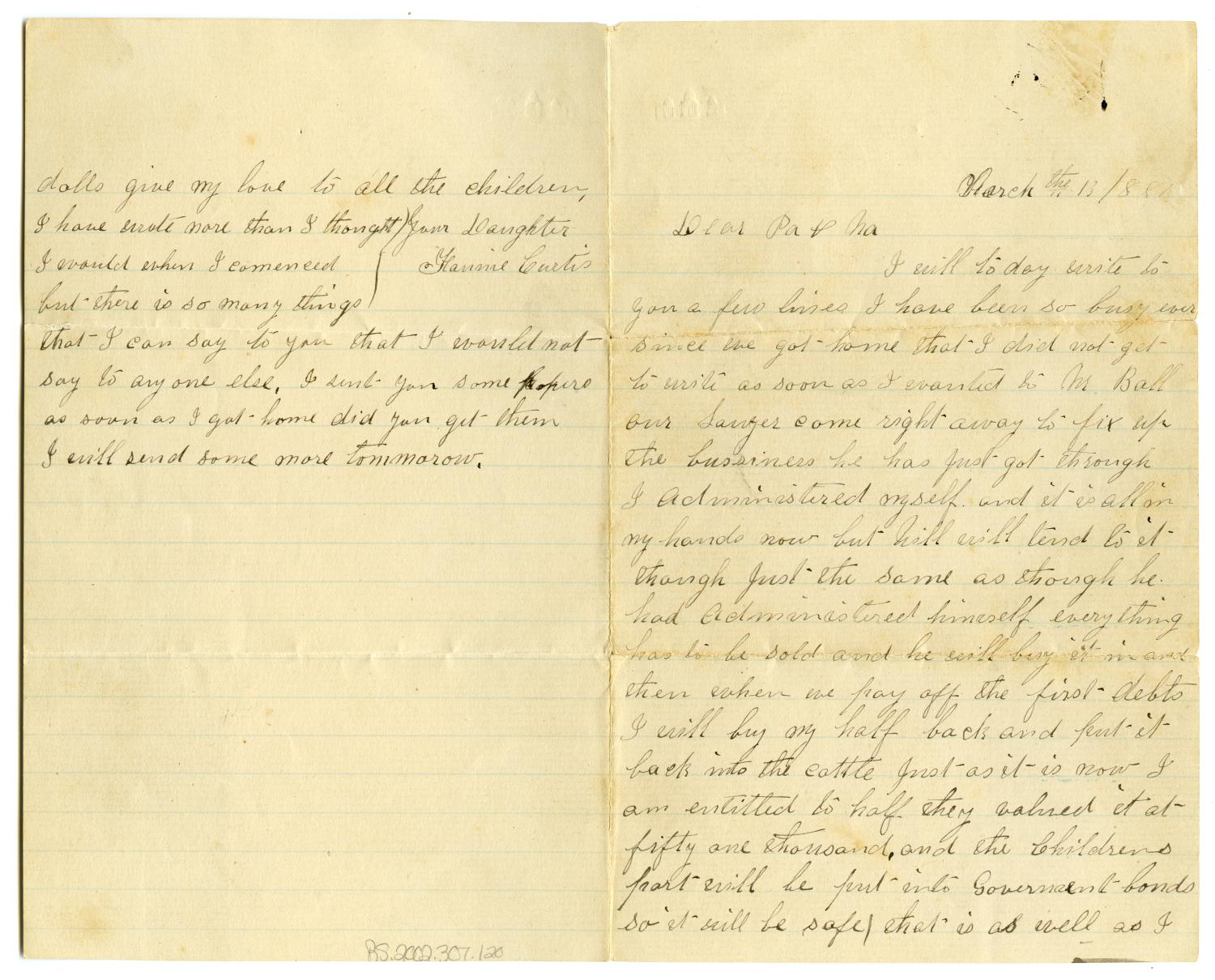 [Letter from Fannie Curtis to parents, March 13 1881]                                                                                                      [Sequence #]: 1 of 2