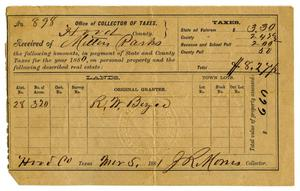 Primary view of object titled '[Tax receipt for Milton Parks, March 5 1881]'.