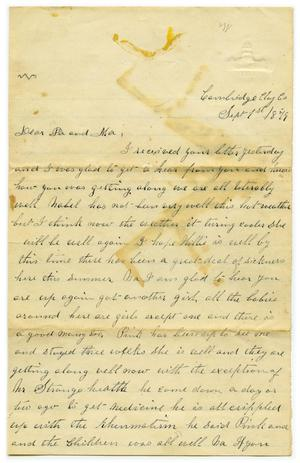Primary view of object titled '[Letter from Fannie Curtis to parents, September 1 1879]'.
