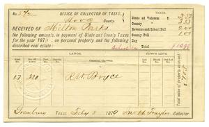 Primary view of object titled '[Tax receipt for Milton Parks, July 8 1879]'.