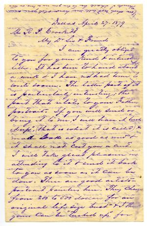 [Letter from J.M. Crockett to R.P. Crockett, April 27 1879]