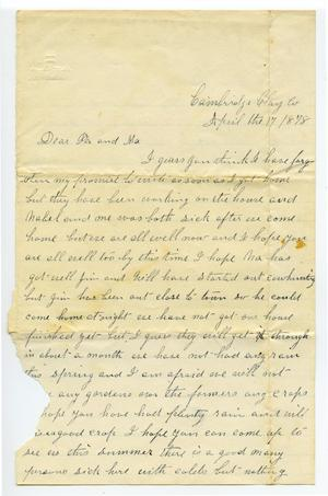 Primary view of object titled '[Letter from Fannie Curtis]'.