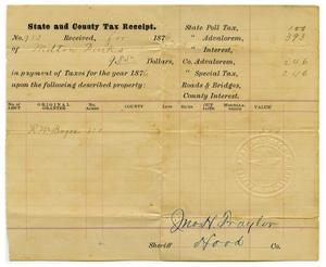 Primary view of object titled '[State & County Tax Receipt for Milton Parks]'.
