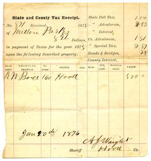 Primary view of object titled '[State and County Tax Receipt for Milton Parks]'.