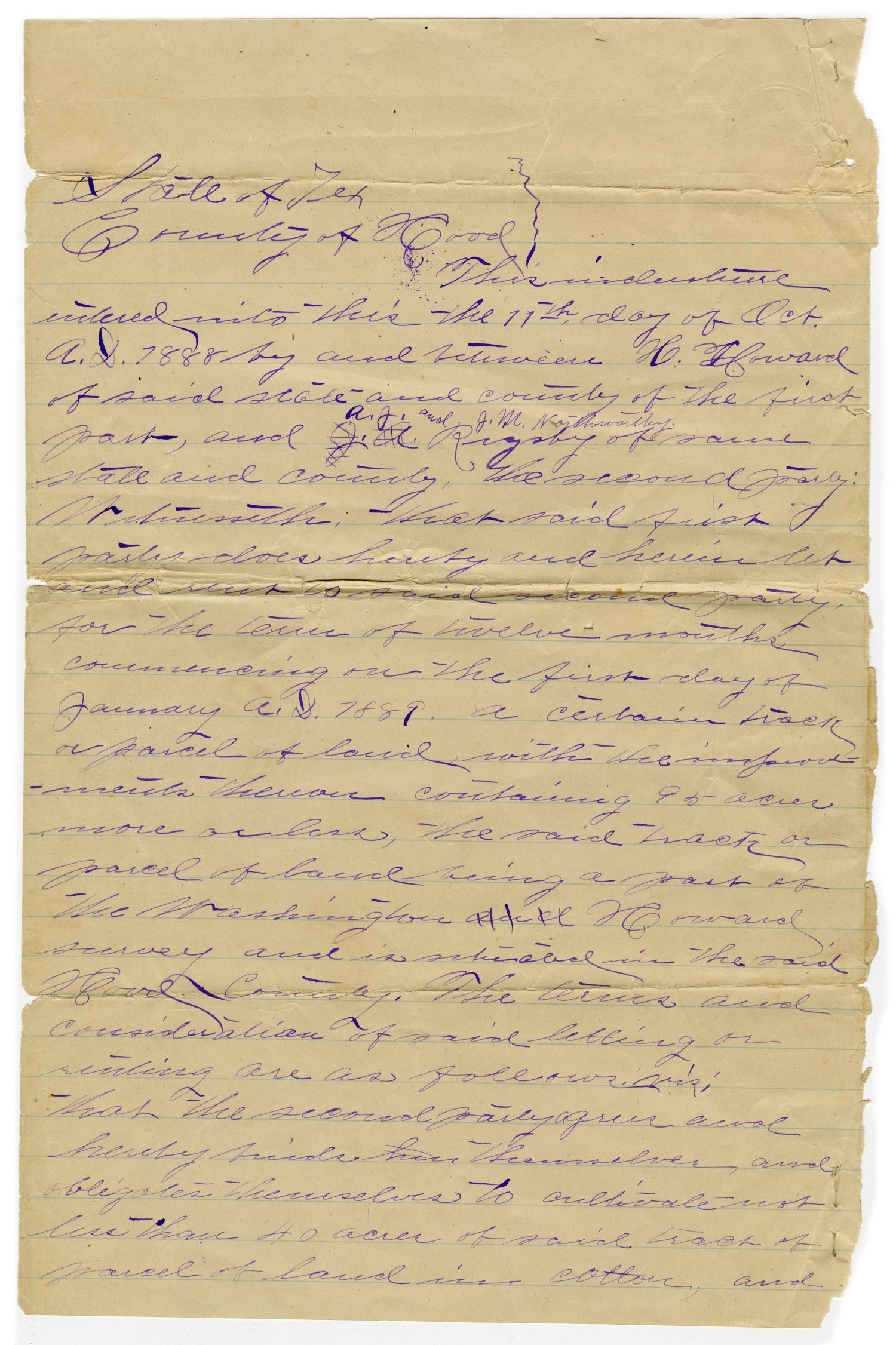 [Written land agreement between H. Howard, A.J. Rigsby and J.M. Northworth, October 11 1888]                                                                                                      [Sequence #]: 1 of 3