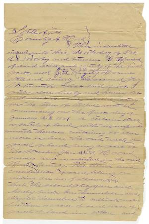 Primary view of object titled '[Written land agreement between H. Howard, A.J. Rigsby and J.M. Northworth, October 11 1888]'.