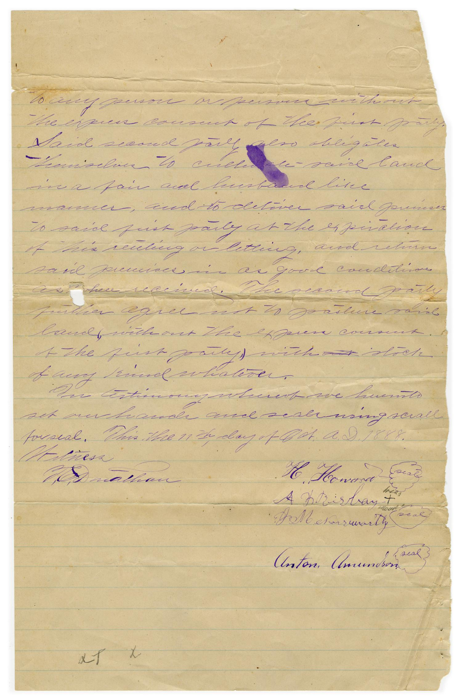 [Written land agreement between H. Howard, A.J. Rigsby and J.M. Northworth, October 11 1888]                                                                                                      [Sequence #]: 3 of 3